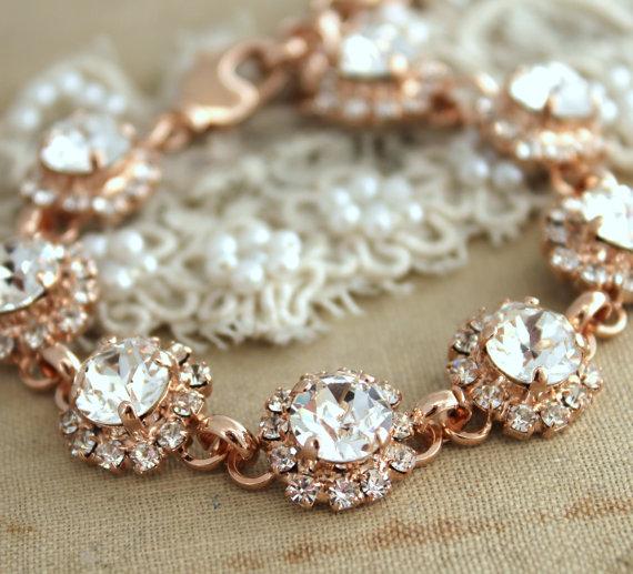 Wedding Bracelet Rose Gold Rhinestone Bracelet Swarovski Classic
