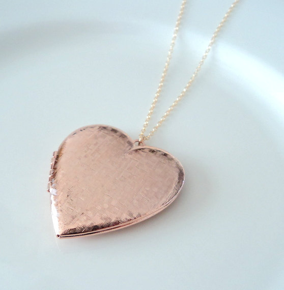 Heart Locket Necklace Rose Gold And Gold Heart Locket Necklace