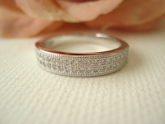 Свадьба - Personalized Anniversary band...paved CZ  Diamond band...Wedding ring, Engagement ring, Anniversary, Special occasion ring, promise ring