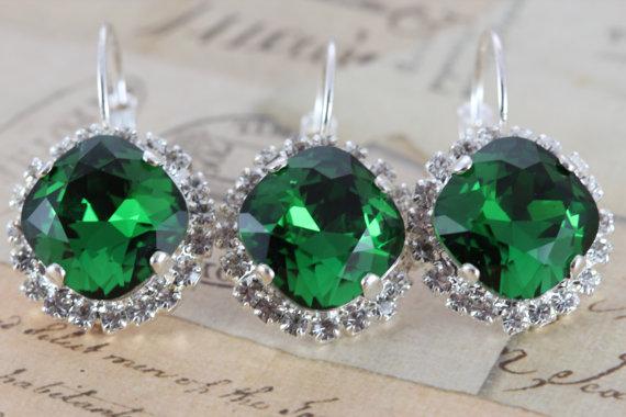 Mariage - Green Wedding Earrings Set of 6 Pairs Bridesmaids Gift Jewelry Christmas Wedding Jewelry Silver Swarovski  Green Dark Moss Crystal Earrings