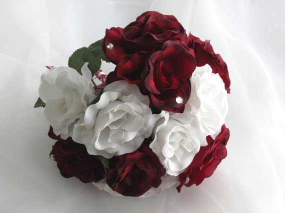 Свадьба - Very Cute  Bridal Bouquet -Burgundy And White Roses-Silk Flowers-Crystals