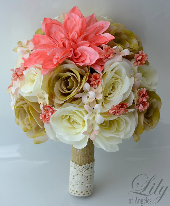 """Mariage - 17 Piece Package Wedding Bridal Bride Maid Of Honor Bridesmaid Bouquet Boutonniere Corsage Silk Flower CORAL CREAM PEACH """"Lily of Angeles"""""""