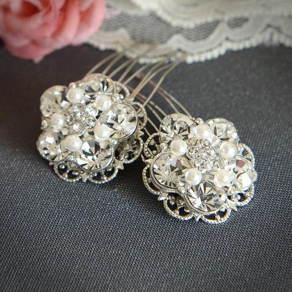 Mariage - VICKI - Bridal Hair Combs, Silver Filigree Rhinestone Pearl Comb, Vintage Style Bridal Hair Accessory, Crystal Hair Accessories, Set of TWO