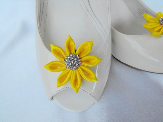 Handmade Flower Shoe Clips With Rhinestone Center Bridal Wedding Accessories In Bright Yellow