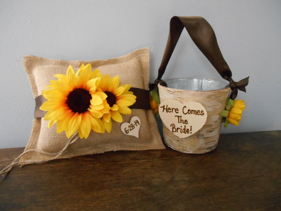 Mariage - Rustic Flower Girl Basket, Burlap Ring Bearer Pillow SET Natural Birch Bark YOU CUSTOMIZE