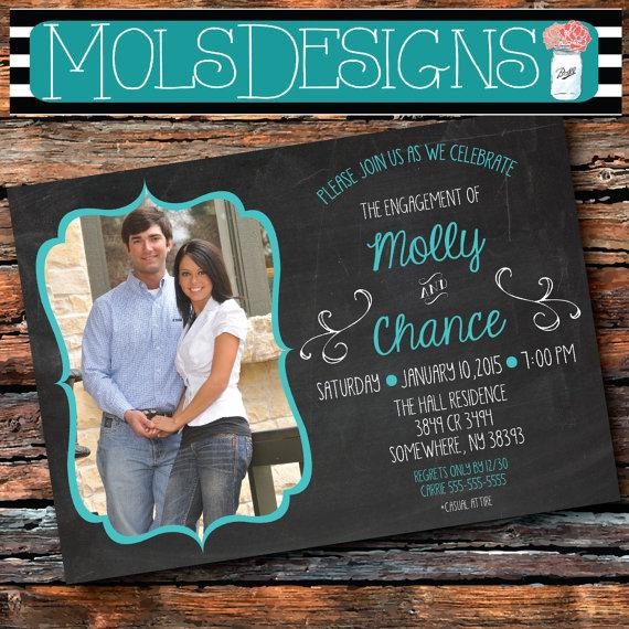 Any Color Chalkboard Engagement Party Photo Simple S Bridal Wedding Shower Surprise 21 30 Birthday Turquoise Bachelorette Invitation