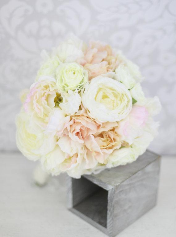 Свадьба - Silk Bride Bouquet Peony Flowers Peonies Shabby Chic Wedding