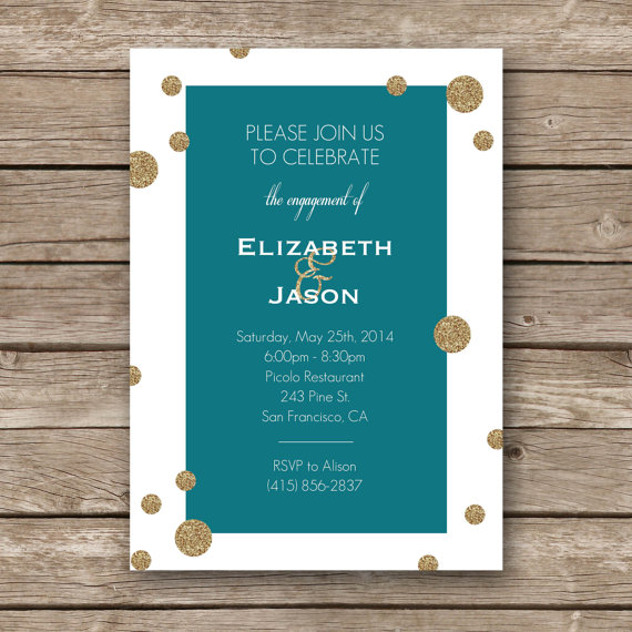 Hochzeit - Printable Engagement Party Invitation - 5x7 - Text and Colors Customizable