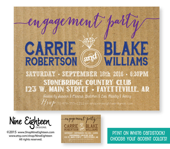 Wedding - Engagement Party Invitation Couples Shower, Bridal Shower, Wedding Shower. Custom Printable PDF/JPG invitation. I design, you print.
