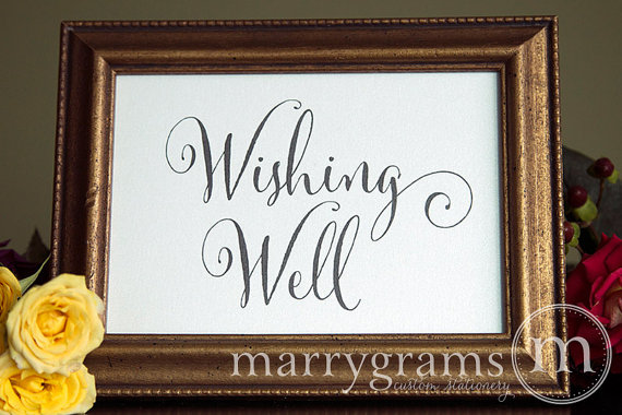 Wedding - Wishing Well Gifts Table Sign - Rustic Chalk Style Wedding Reception Seating Signage - Matching Numbers -Wishes Cards and Gifts Sign SS07
