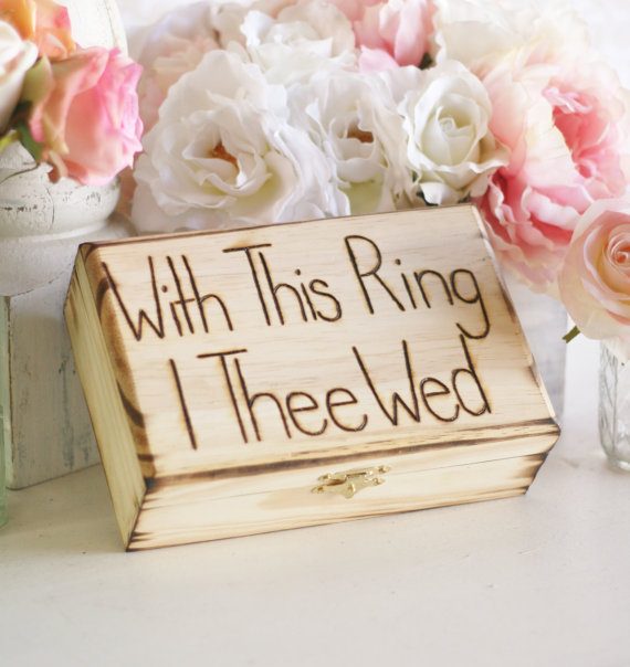 Mariage - Rustic Ring Bearer Pillow Engraved Box With This Ring I Thee Wed (item E10262)