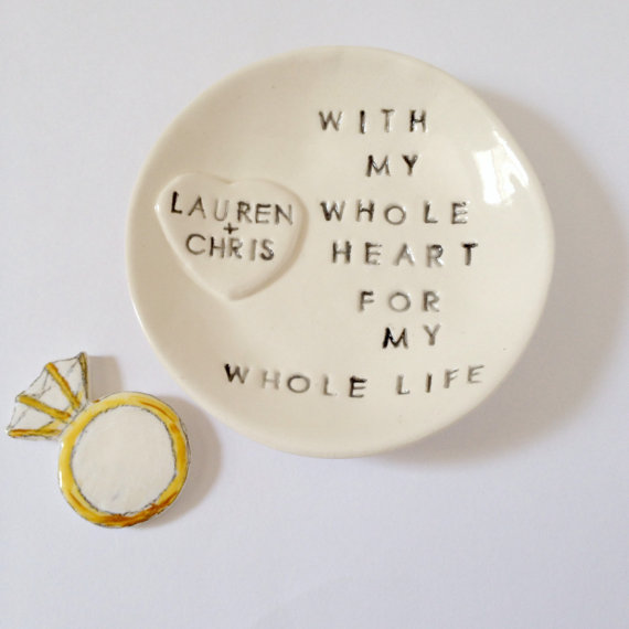 Mariage - Personalized ring holder engagement gift ring dish unique keepsake handmade by Cathie Carlson