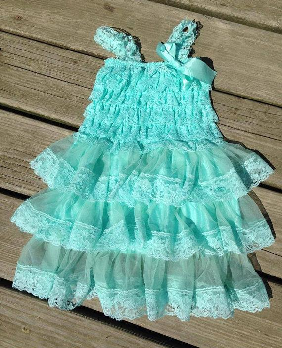 Свадьба - Aqua lace layered petti dress vintage lace dress bridesmaid dress flower girl dress - aqua flower girl dress - cream lace petti dress