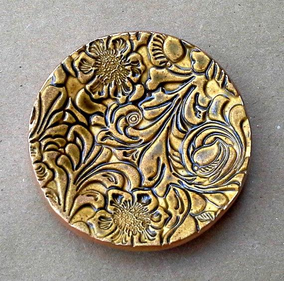 Hochzeit - Small Ceramic Flourish Ring Holder Dish DIJON  Mustard Yellow edged in gold 3 1/4 inches round