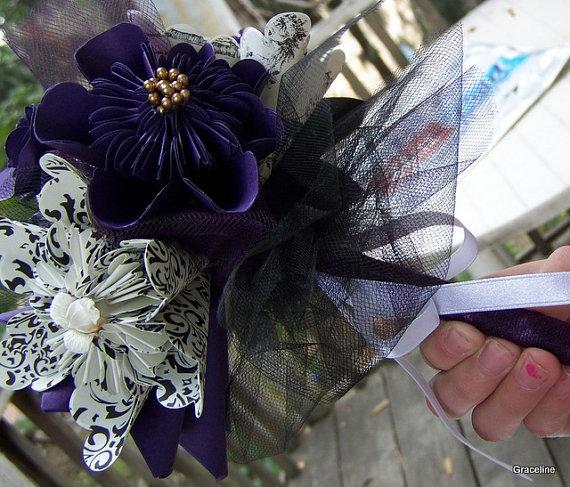 زفاف - Black and Deep Purple Paper Flower Bouquet Includes 8 Origami Flowers Plus Decor