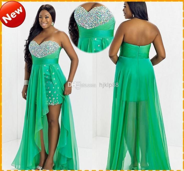 Custom Plus Size Hot Sale Green Sweetheart Chiffon High Low Crystal