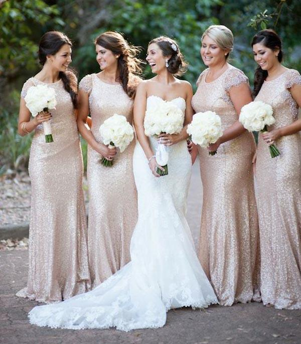 Wedding - 2015 Newest Bridesmaid Dresses Gold Sequins Bling Cap Sleeve Scoop Neckline Fit And Flare Evening Dresses Party Formal Ball Dress Gowns Online with $74.18/Piece on Hjklp88's Store