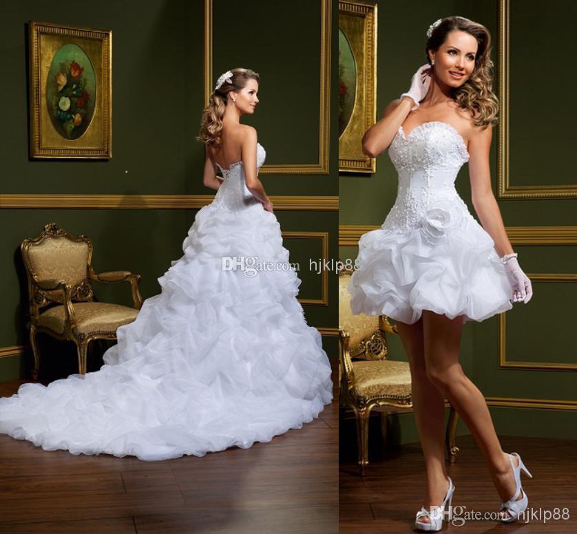 2014 New Vestido De Noiva White Ball Gown Wedding Dresses Strapless ...