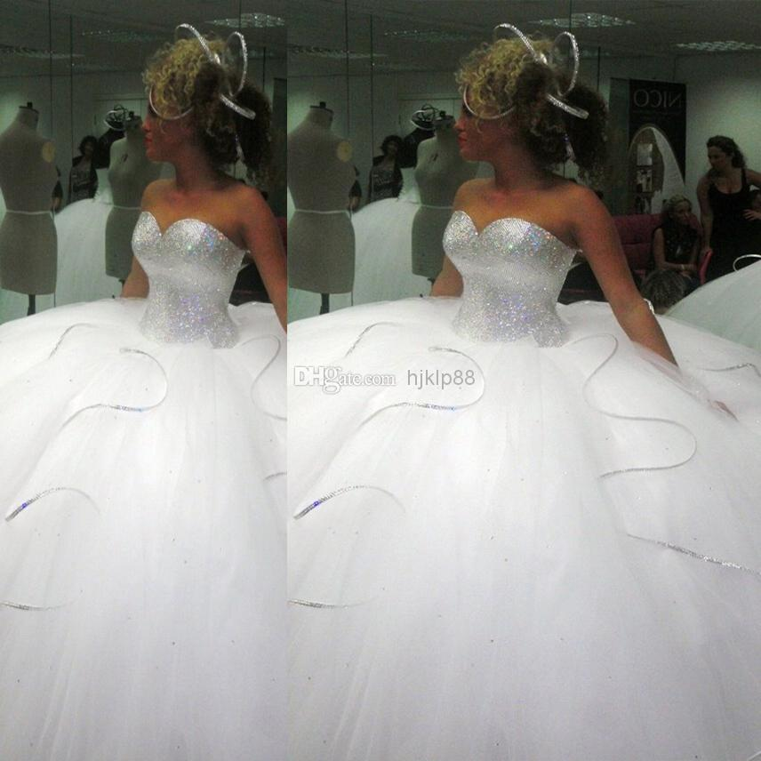2014 bling bling big poofy wedding dresses custom made