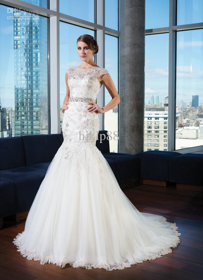 Boda - 2014 New Arrival Illusion Bateau Neck Cap Sleeves Beaded Belt V-back Applique Lace Tulle Cheap Bridal Dress Covered Button Wedding Dresses, $123.85