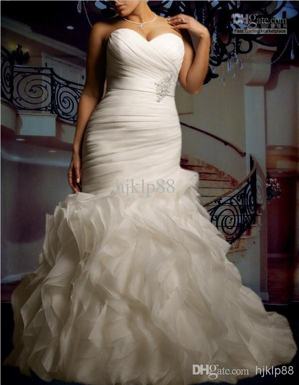 Mariage - 2014 New Custom Plus Size Sexy Sweetheart Strapless Beautifully Organza Mermaid Wedding Dress Bridal Gown Cascading Ruffles Wedding Dresses Online with $98.96/Piece on Hjklp88's Store
