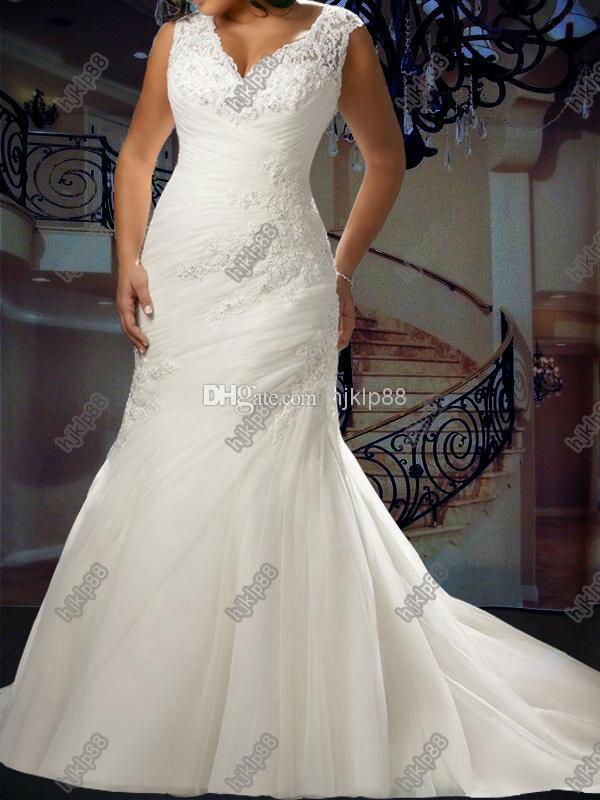 Custom Make Mermaid Wedding Dresses Plus Size V-Neck Beaded Lace ...