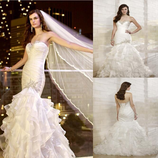 Mariage - 2014 New Crystal Beaded Sweetheart Strapless Cascading Ruffles Pleated Organza Mermaid Wedding Dresses Bridal Gown Dress Lace Brush Train Online with $113.09/Piece on Hjklp88's Store