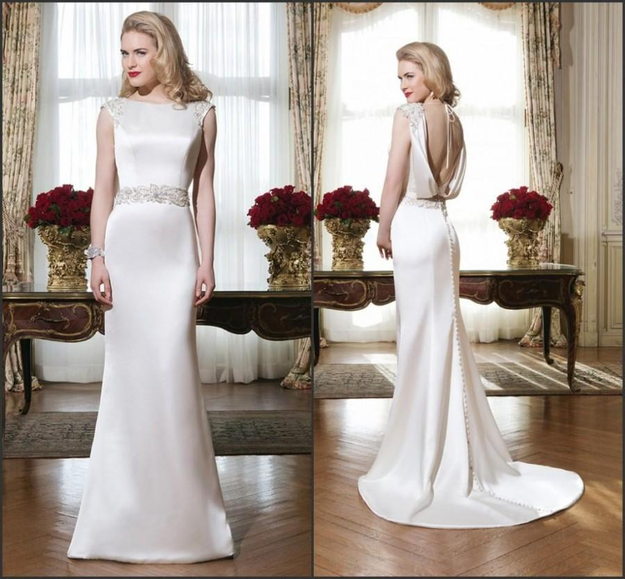 Bright Satin Wedding Dresses 2015 Justin Alexander Sheath Backless Beaded Garden Crew Neck Vestido De Noiva Custom Bridal Gown Sleeveless Online With