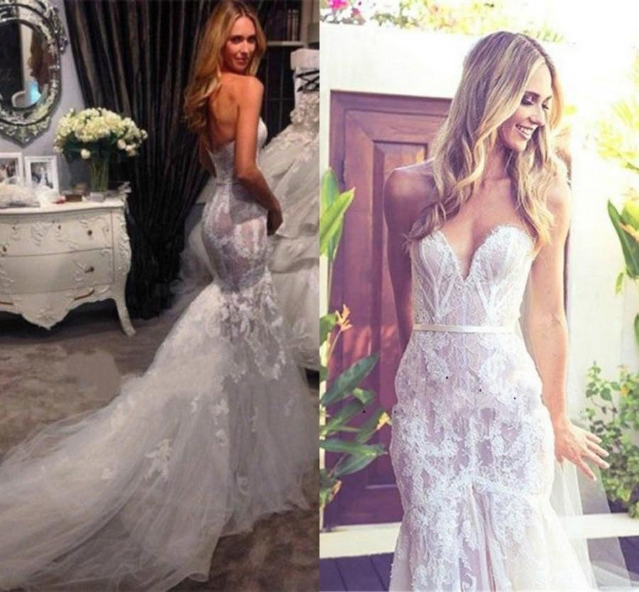 2015 New Mermaid Wedding Dresses With Lace Applique Tulle Sheath Sleeveless Sweetheart Vestido