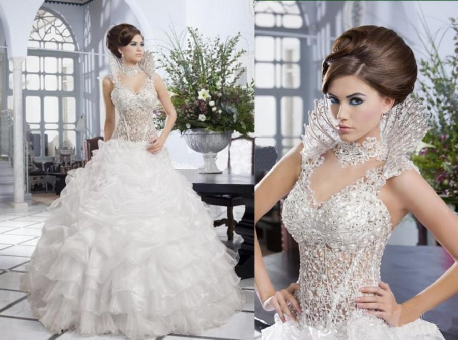 custom made 2014 the newest design luxury beautiful wedding dress lace beads corset ruffles organza skirt removable beading collar online with 24255piece