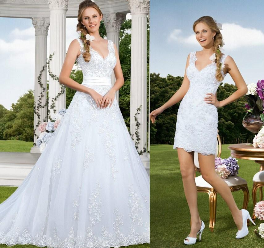 Mariage - 2015 New Elegant Detachable Two Pieces Beautiful Vestidos De Noiva Sexy V Neck Wedding Dresses Beaded Vintage Applique Tulle Bridal Gowns Online with $117.07/Piece on Hjklp88's Store