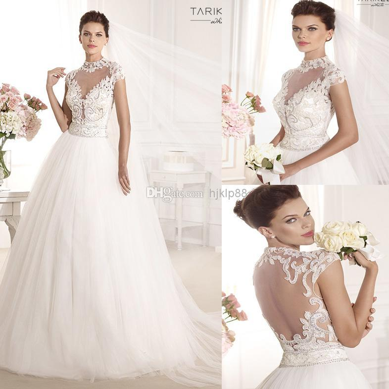 Beaded sash high neck sheer backless 2014 new arrival for High neck backless wedding dress
