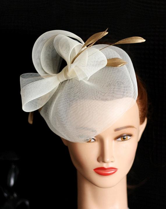 Wedding Hat Couture Bridal Ivory Birdcage Veil Headpiece Fascinator