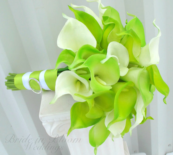 Wedding - Brides bouquet Lime green real touch calla lily Wedding bouquet
