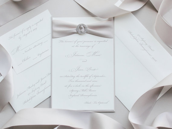 crystal bow pocketfold wedding and brooch satin invitation diamante
