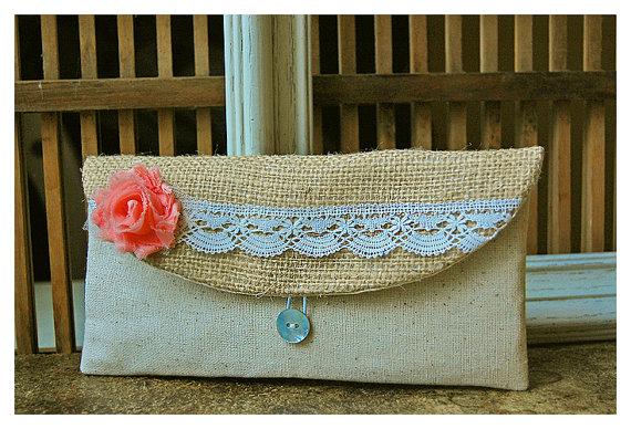 Mariage - clutch burlap lace salmon wedding purse rustic shabby rag rose flower color choice bag Personalize Bridesmaid cotton linen gift MakeUp