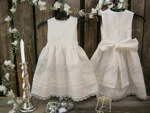 Beach Flower Girl Dress. Rustic Flower Girl Dress. Girls Off White ...