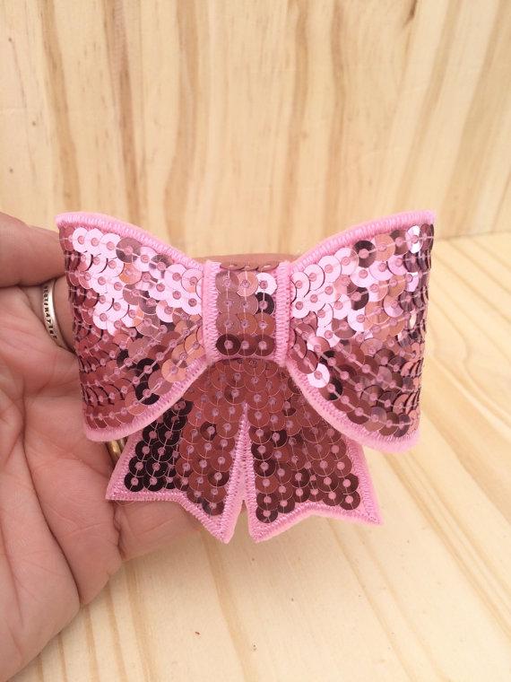 Hochzeit - Glitter Dog Bow - Pink Glitter Collar Bow - Sequin Light Pink Dog Bow- Dog Collar Bow - GFLTPNK
