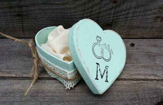 Personalized rustic ring bearer heart shaped box rustic for Heart shaped engagement ring box