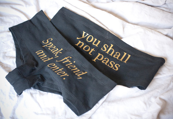 Mariage - 2 Pairs of LOTR Undies - Made in USA - inspired by Tolkien Lord of the Rings