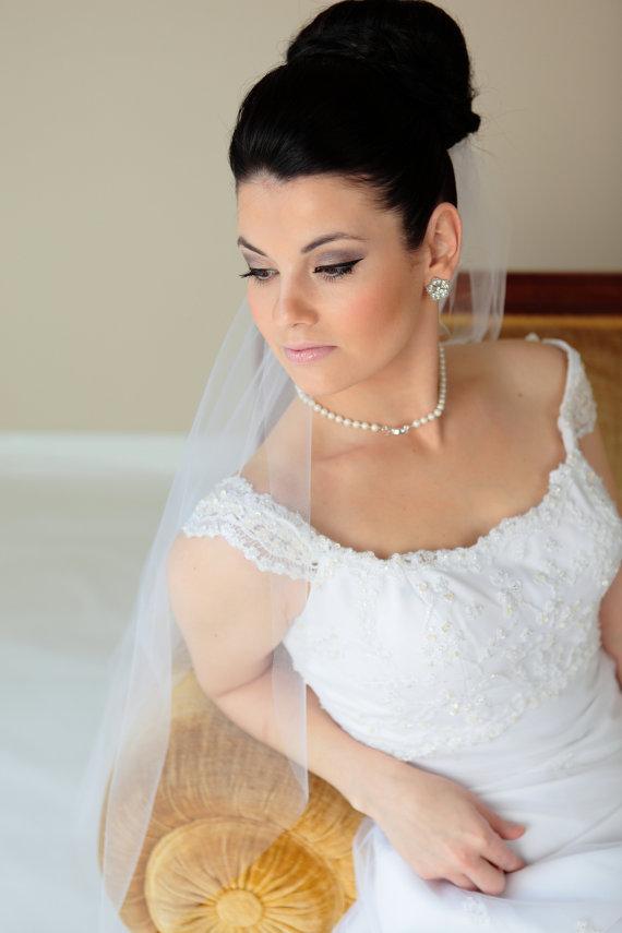 Nozze - Single tier Waist length plain cut veil, bridal veil