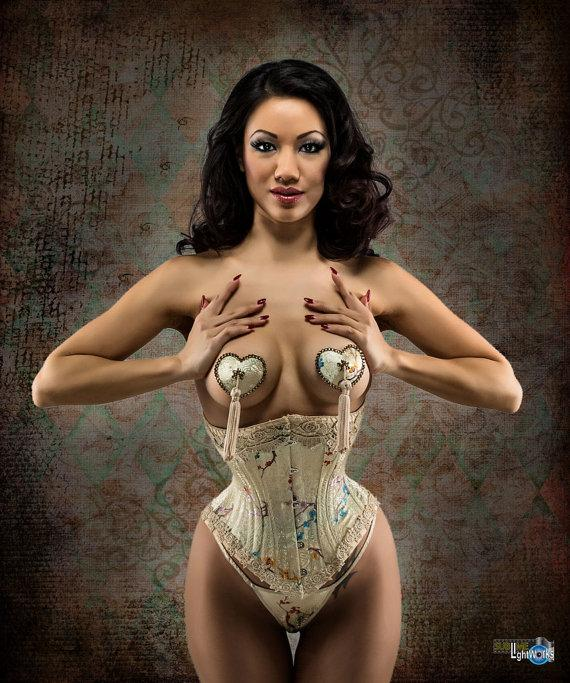 7e54b08234 Custom Made Bridal Lingerie-Set Corset and Gstring panties Custom Made for Wedding  Boudoir Burlesque Costume Gold Brocade Silk Tea Stained