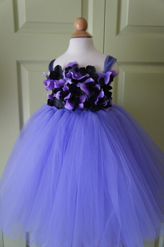 Flower Girl Dress, Tutu Dress, Photo Prop, Lavender Purple And Black ...