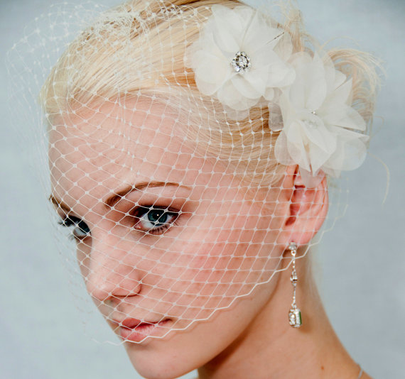 Mariage - Ivory Silk organza flowers hair clip and birdcage veil vail ( 2 items) wedding reception bridal party