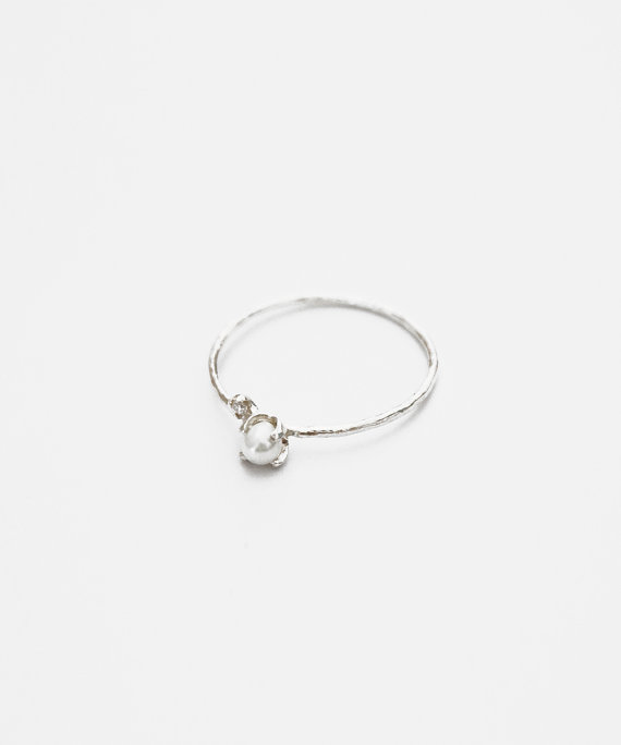 Silver Pearl Engagement Ring Simple Ring Cz Ring Sterling Silver