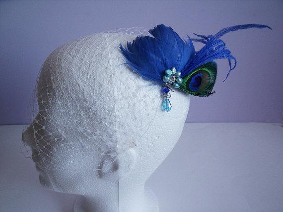 Свадьба - Ivory Birdcage Veil Fascinator, Ivory Birdcage Veil Peacock Fascinator, Blue Bridal Fascinator, Royal Blue Fascinator, Birdcage Fascinator