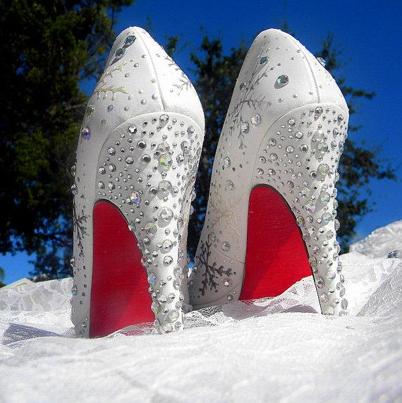Mariage - Wedding Shoes , snowflakes  shoes, Winter Wedding shoes, Red Soles shoes, sexy high heels, white winter shoes, winter wonderland shoes,