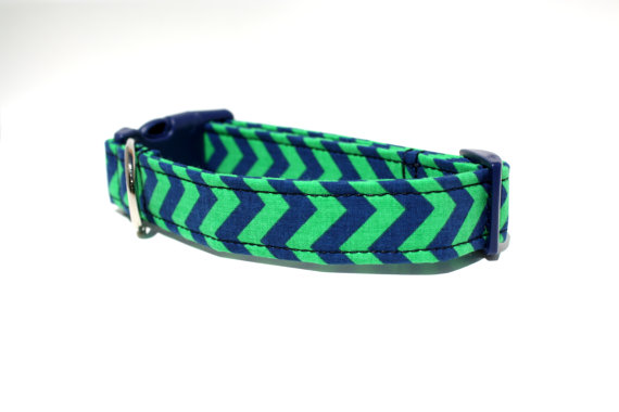 زفاف - Blue and Green Chevron Dog Collar / Boy Dog Collar / Wedding Dog Collar / Chevron Dog Collar
