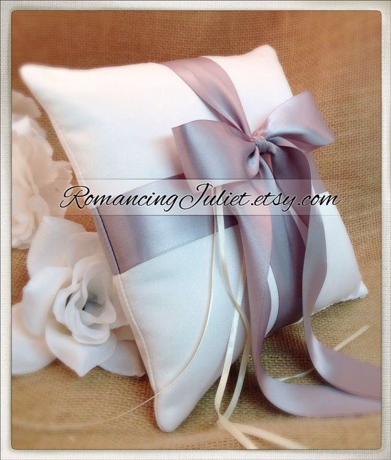 Hochzeit - Romantic Satin Ring Bearer Pillow...You Choose the Colors...Buy One Get One Half Off...shown in ivory/silver gray
