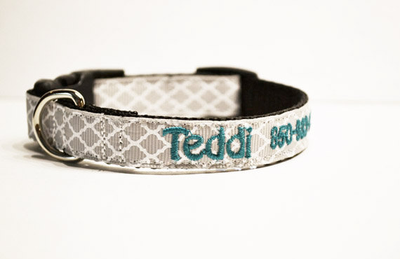 Hochzeit - Personalized - Gray Moroccan Dog Collar - Made to order
